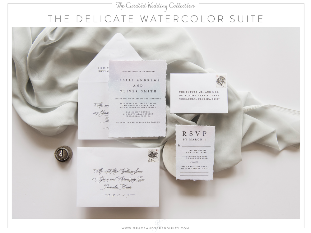 The Delicate Watercolor Wedding Invitation Suite - part of The Curated Collection designed by Grace and Serendipity
