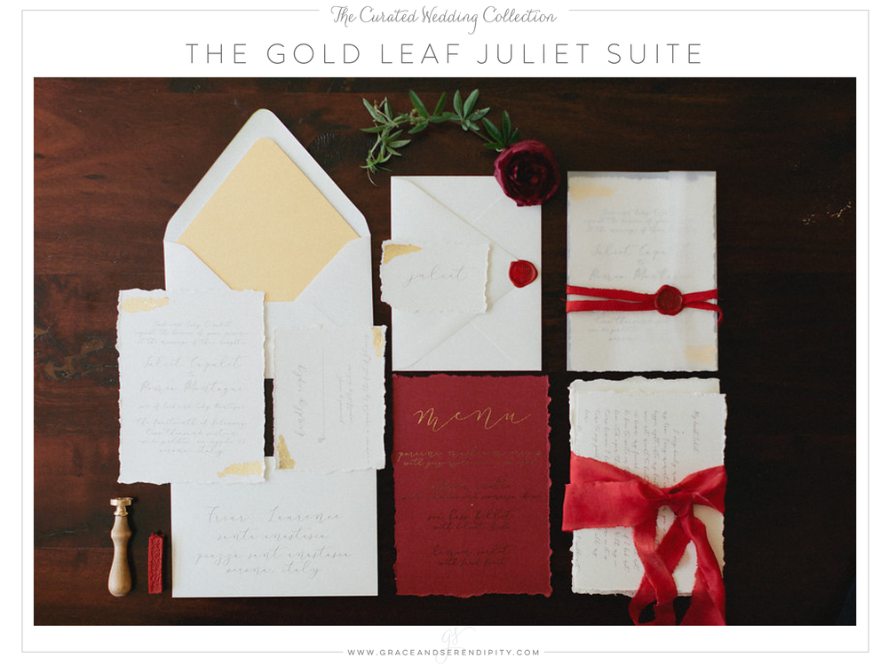 The Gold Leaf Wedding Invitation Suite - part of The Curated Collection designed by Grace and Serendipity