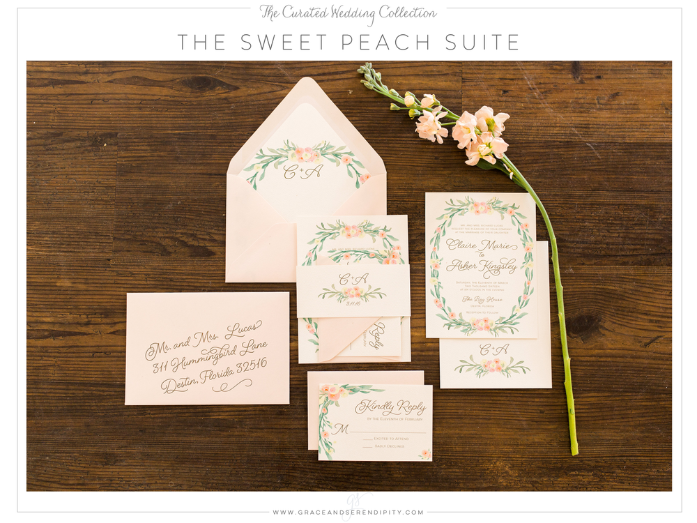 The Sweet Peach Wedding Invitation Suite - part of The Curated Collection designed by Grace and Serendipity