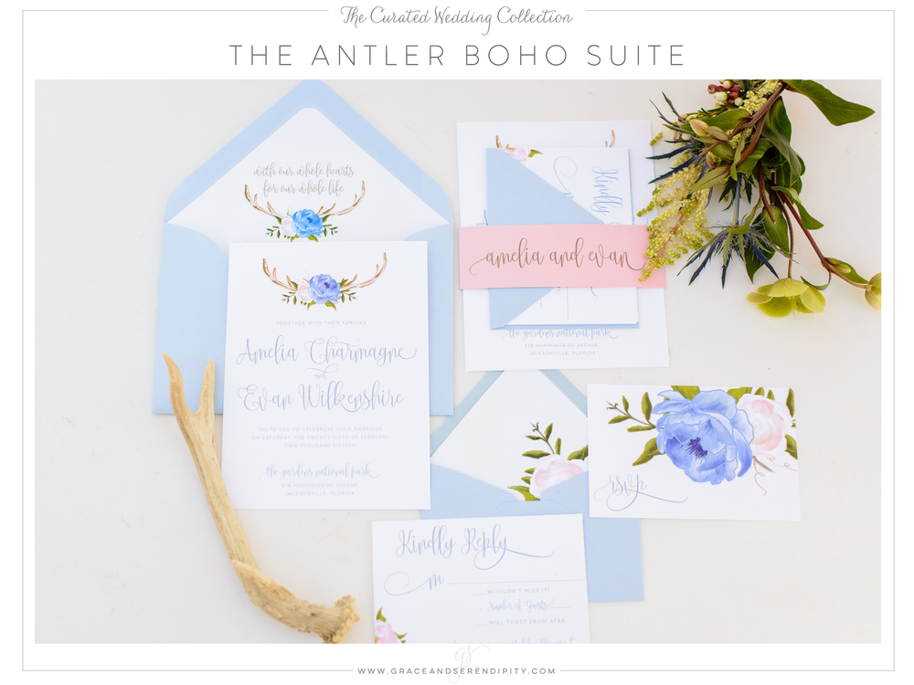 The Antler Boho Blue and Floral Wedding Invitation Suite  - part of The Curated Collection designed by Grace and Serendipity