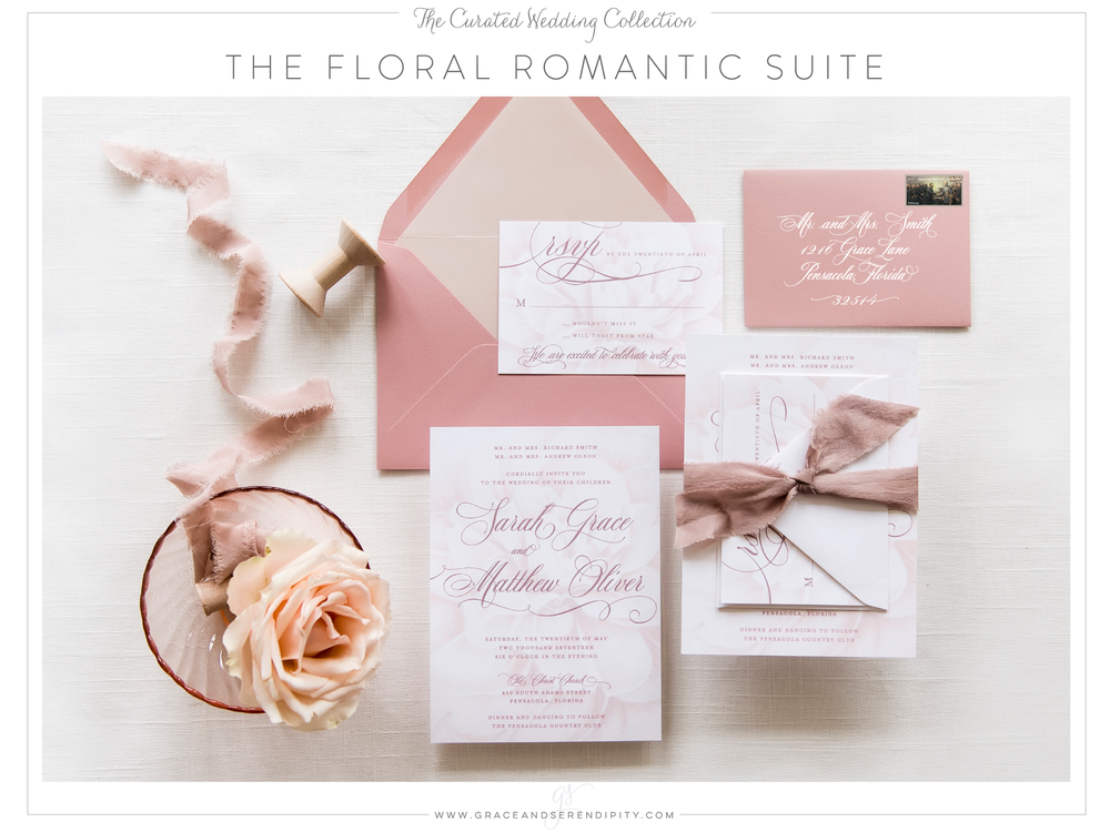 Floral and Dusty Rose Romantic Wedding Invitation Suite by Grace and Serendipity