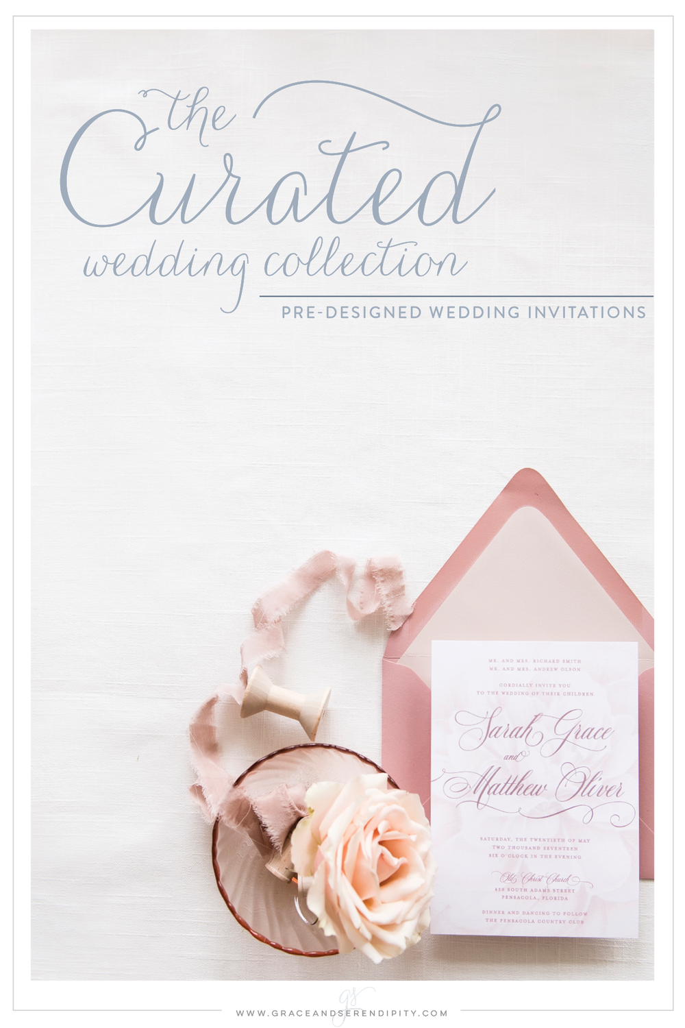 Curated Collection - Wedding Invitation Design by Pensacola Invitation Designer Grace and Serendipity