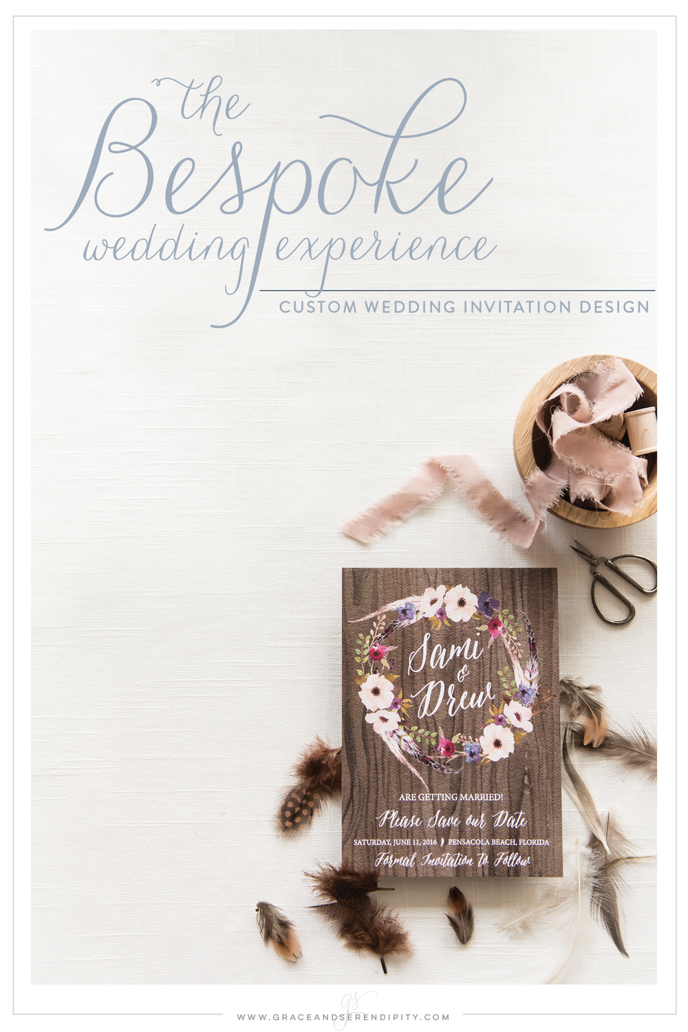 Bespoke Wedding Invitation Design by Pensacola Invitation Designer Grace and Serendipity