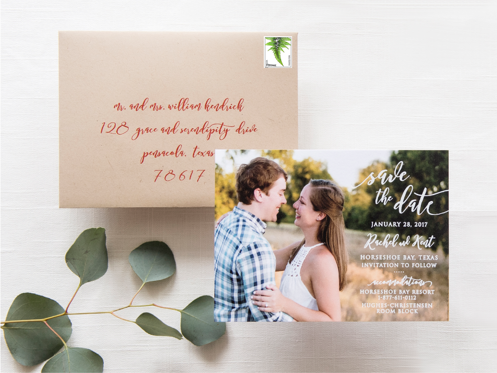 Custom White Foil Photo Save the Dates by Grace and Serendipity