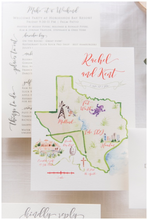 Custom Watercolor Map by Simply Jessica Marie, Ivory and Gray Letterpress Wedding Invitation by Grace and Serendipity, photography by Aislinn Kate