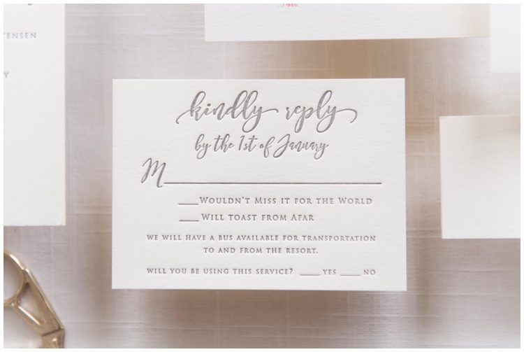 Custom Ivory and Gray Letterpress Wedding Invitation by Grace and Serendipity, photography by Aislinn Kate