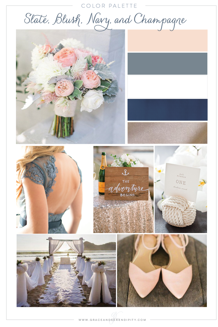 Color palette a nautical blush navy slate and champagne wedding navy blush slate gray and champagne nautical wedding color palette junglespirit Image collections