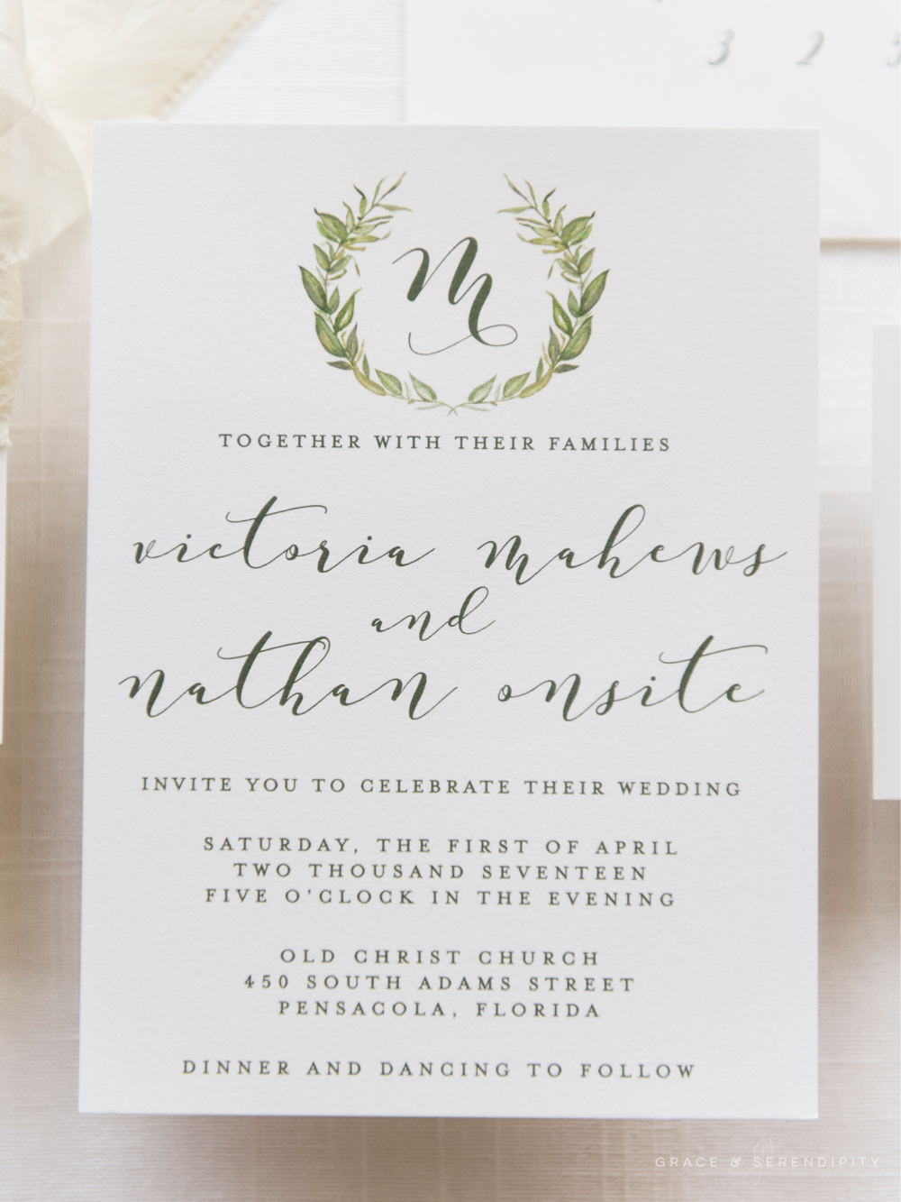 Beloved Greenery Wreath Suite - Wedding Invitation Design by Grace and Serendipity, inspired by Pantones 2017 Color of the Year