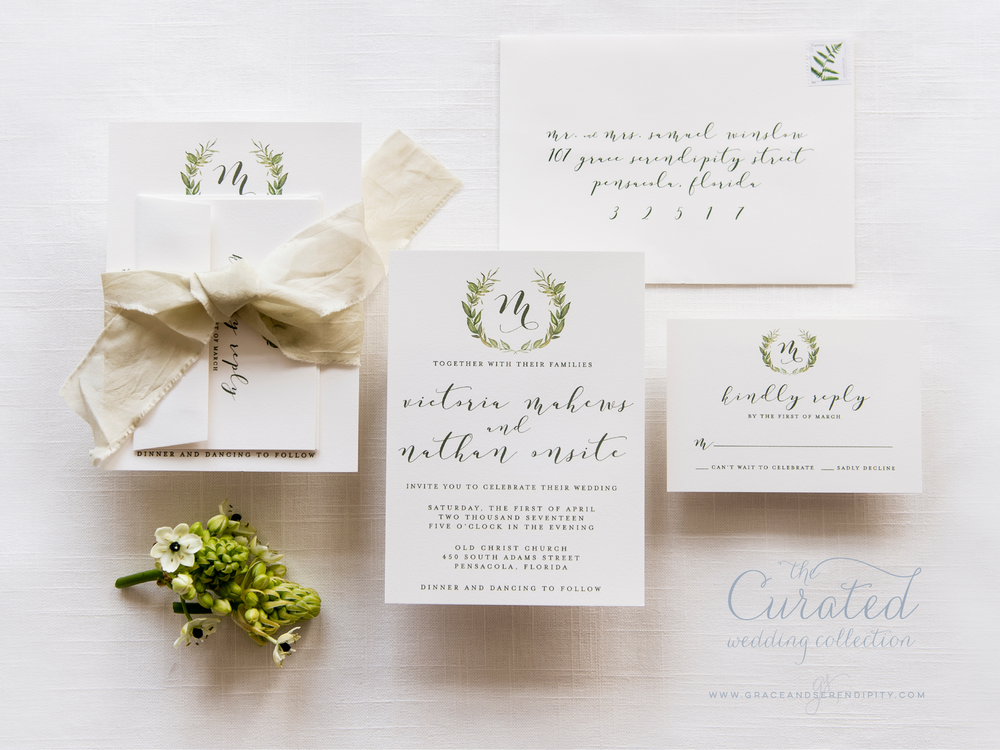 Beloved Greenery Wreath Suite - Wedding Invitation Design by Pensacola Invitations Designer Grace and Serendipity, inspired by Pantones 2017 Color of the Year