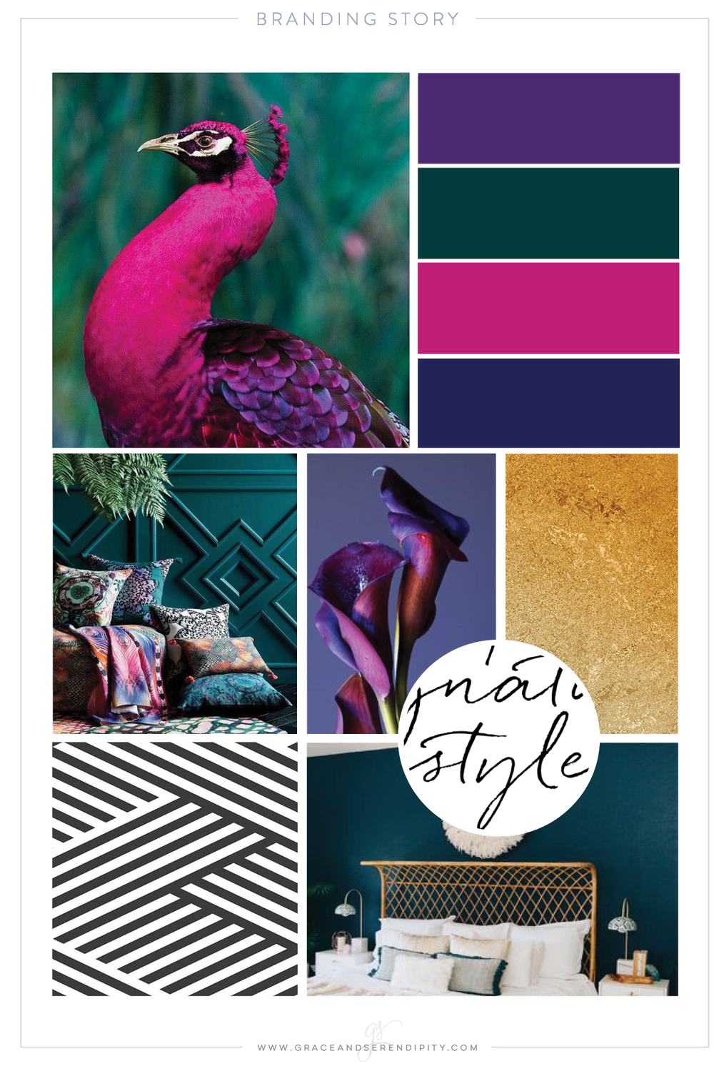 Bold Color Palette - jewel tones and gold - Business Branding by Grace and Serendipity