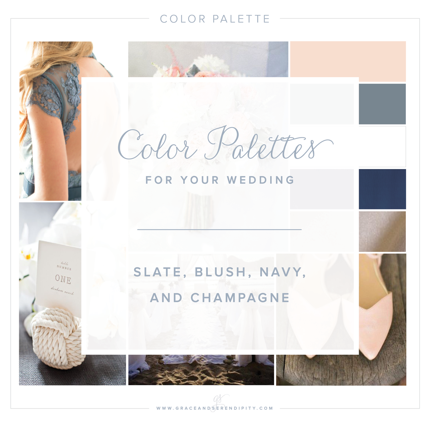 Color Palette: A Nautical Blush, Navy, Slate, and Champagne Wedding ...