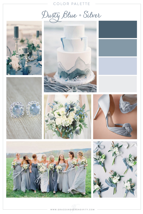Color palette dusty blue with gold or silver grace and serendipity dusty blue and silver wedding color palette by grace and serendipity junglespirit Gallery