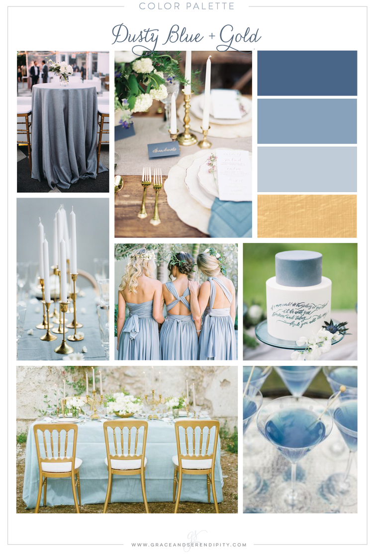 Dusty Blue and Gold Wedding Color Palette - by Grace and Serendipity