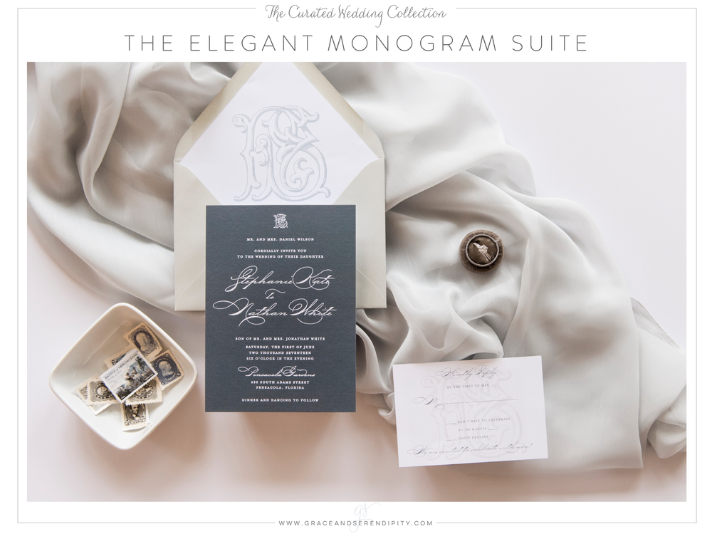 Dusty Blue Monogram Wedding Invitation by Grace and Serendipity