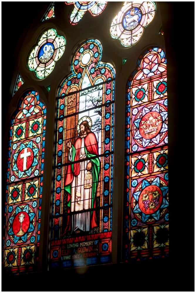 Stained Glass windows in Old Christ Church Pensacola - photography by Aislinn Kate
