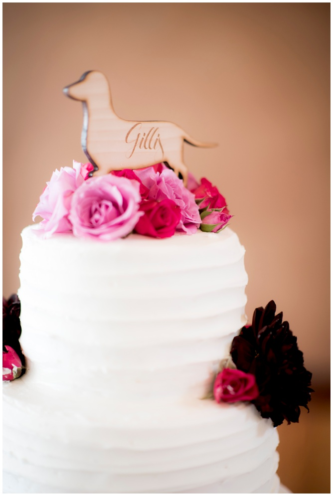 Wedding Cake with Dog Topper - Aislinn Kate Photography