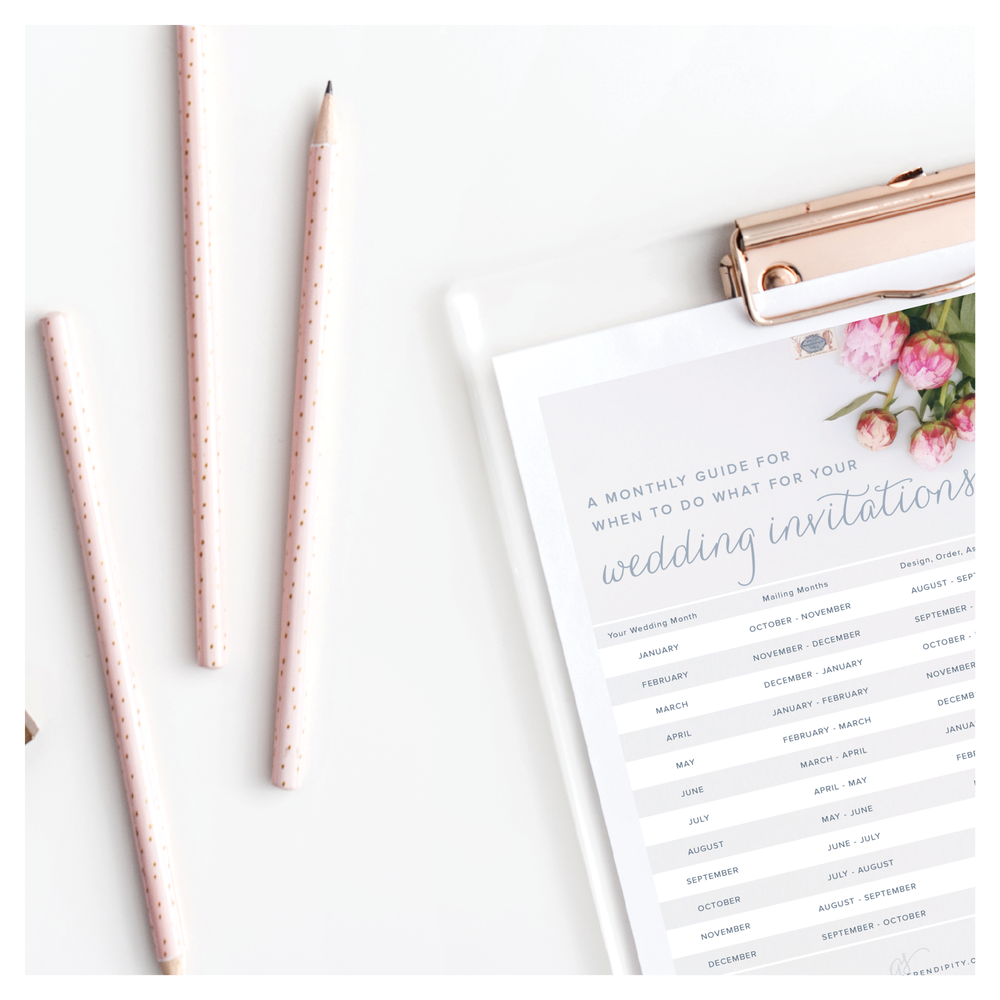 Monthly Wedding Guide for Save the Dates and Invitations - Grace and Serendipity