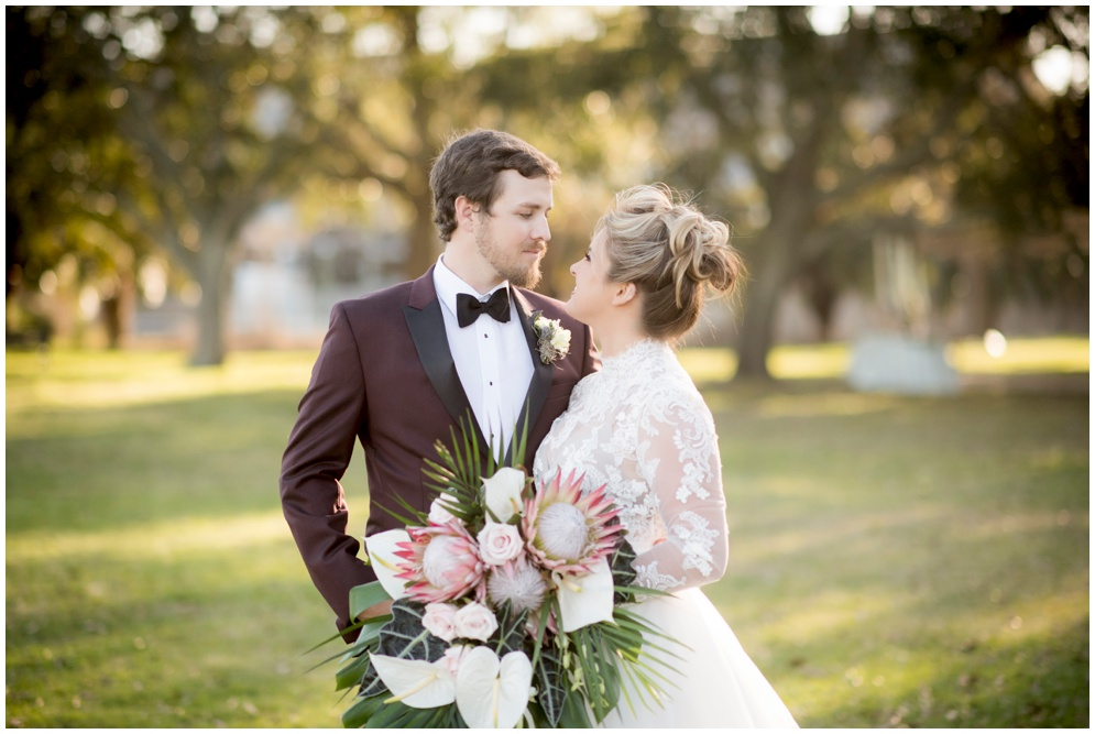 Protea Flower Bride Bouquet with Vintage Wedding Dress by Aislinn Kate Photography