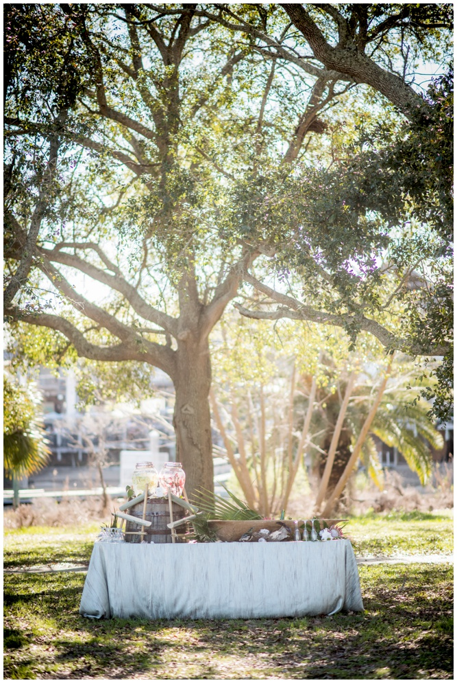 Elegant Table Linen and Unique Table Display with Swiss Family Robinson Inspired Wedding