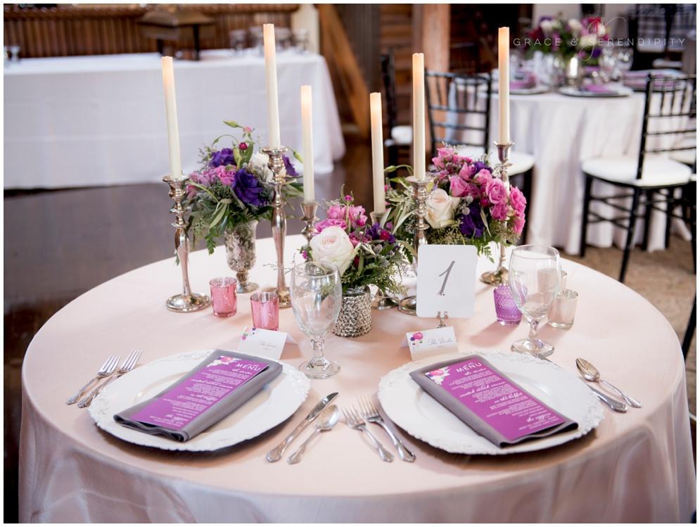 Vibrant Orchid Wedding Menus and Placecards by Grace and Serendipity
