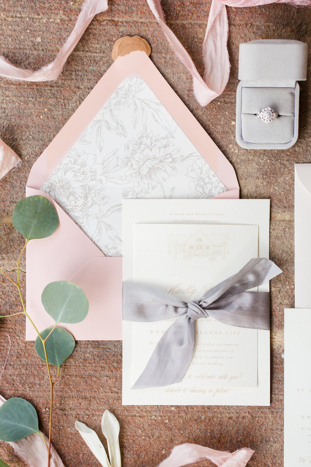 Ivory and Blush Wedding Invitation by Grace and Serendipity