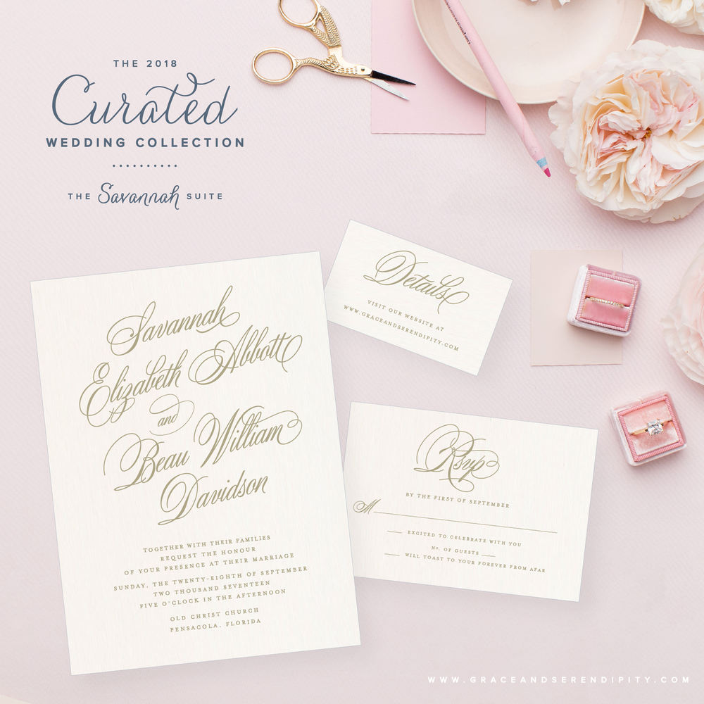 Southern Style Wedding Invitation by Grace and Serendipity - The Savannah Suite