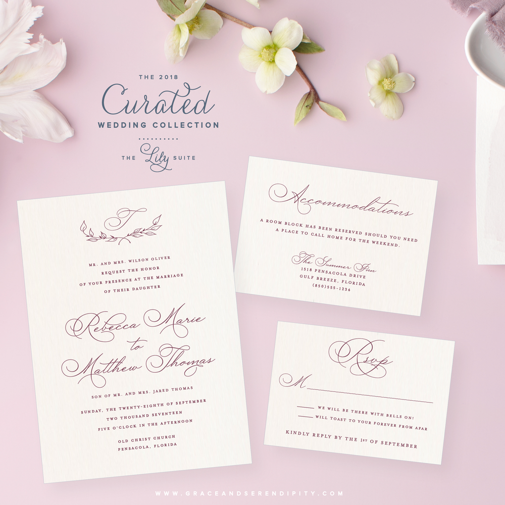 Simple Sophisticated Invitation Suite by Grace and Serendipity - The Lily Suite