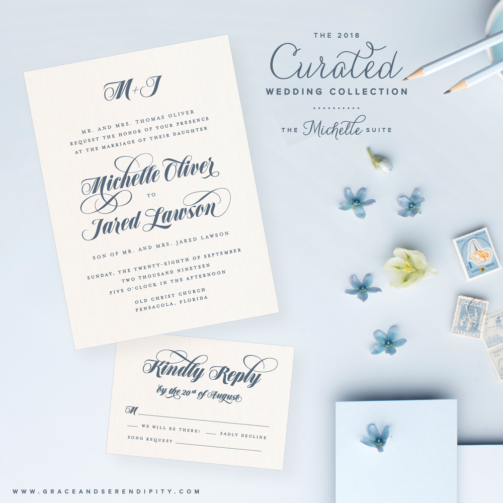 Wedding Invitation Collection by Grace and Serendipity - The Michelle Suite