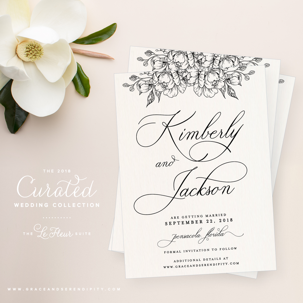Floral Wedding Invitation Collection by Grace and Serendipity - The LeFleur Suite
