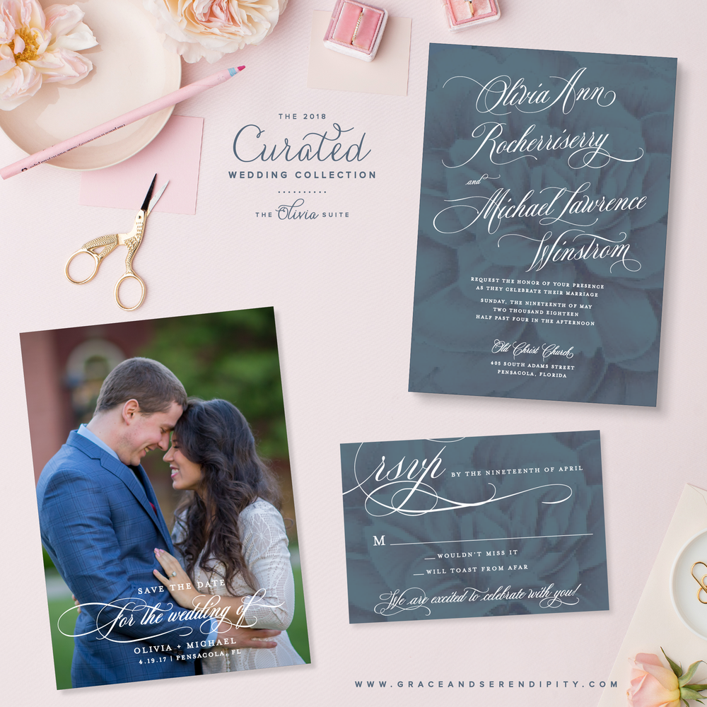 Floral Invitation Suite by Grace and Serendipity - The Olivia Suite