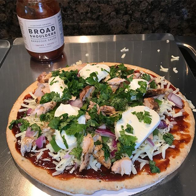 Leftover smoked chicken? No problem, make your own BBQ chicken pizza with Broad Shoulders as your base sauce. Toss on some cilantro, onions, peppers, and mozzarella and you're good to go!