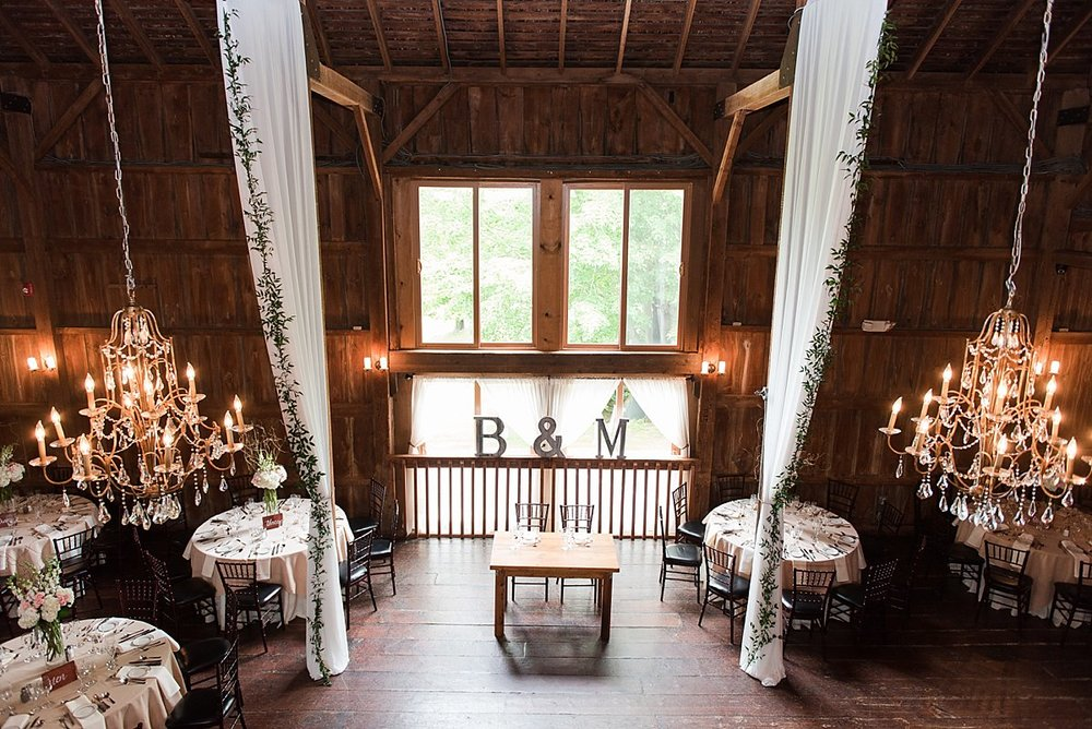The barns at wesleyan hills wedding decor