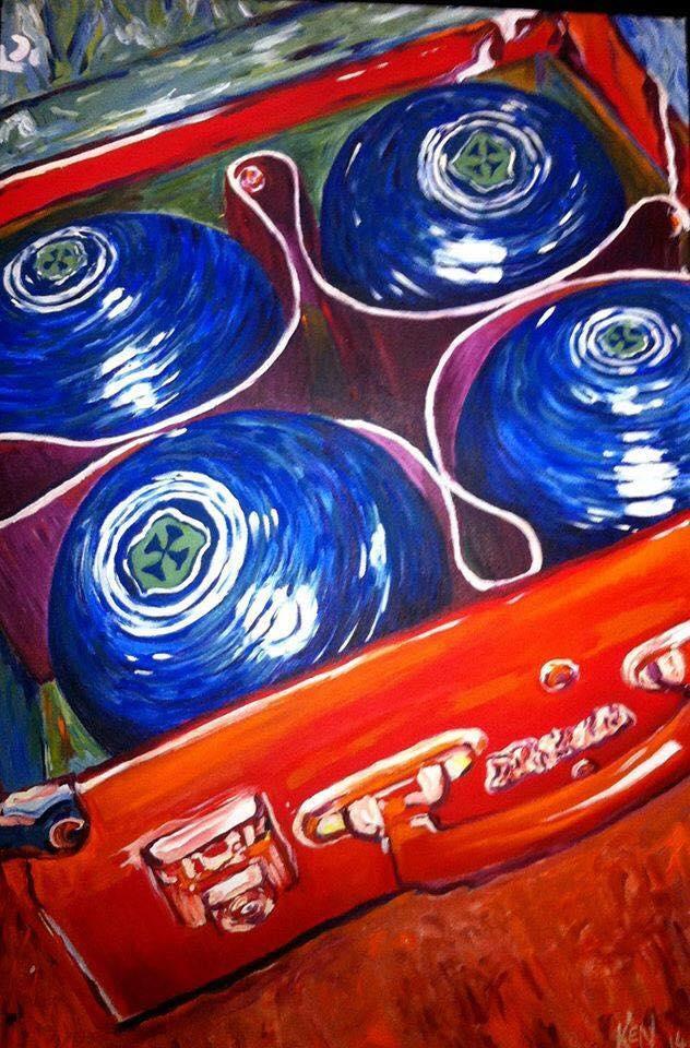 Lawn Bowls     Acrylic on Canvas    60.9 cm x 91.4 cm    $550