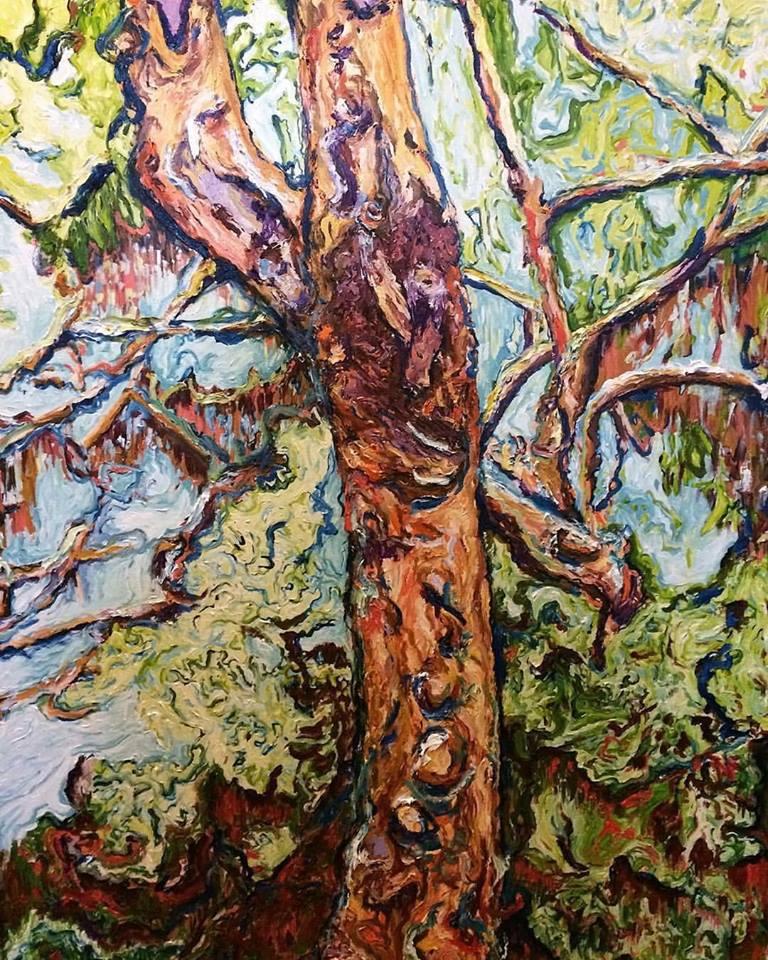 Gum 2     Acrylic and Oil on Canvas    91.4 cm x 121.8 cm    $700