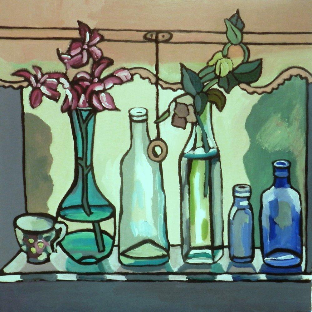 Amina's Windowsill     Acrylic on canvas.    61 cm x 61 cm    $900.00