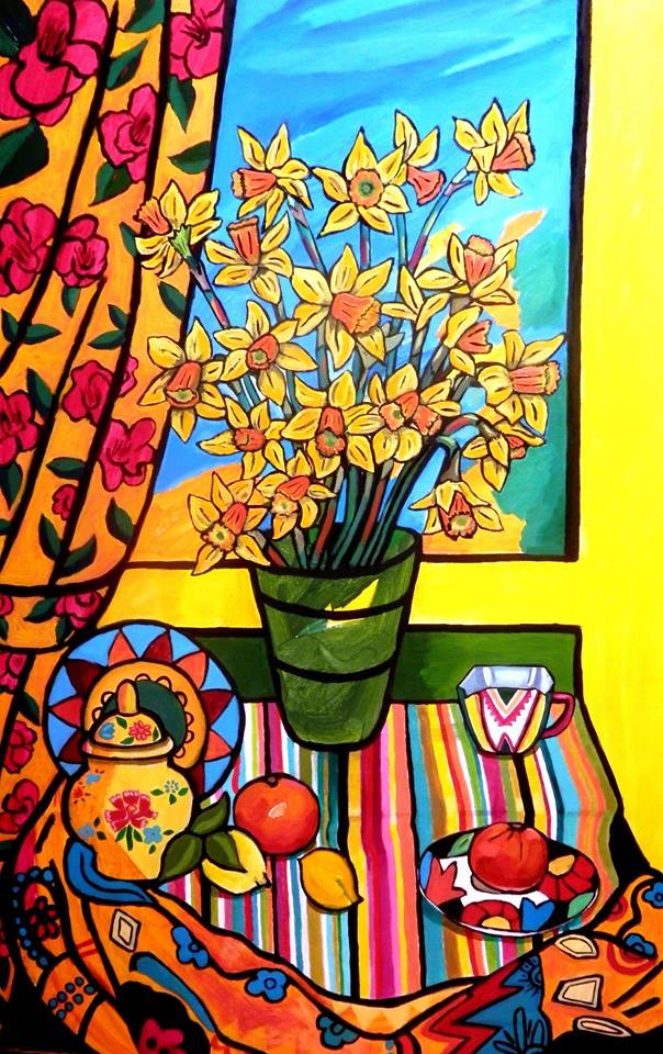 Daffodils in a Window     Acrylic and Oil on Canvas    160 cm x 76 cm    $2000