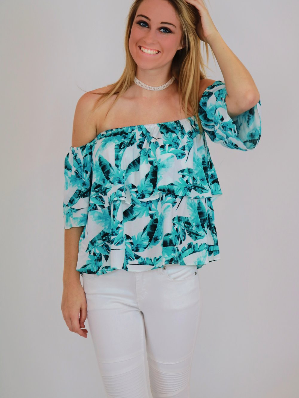 Away in Aruba Off-the-Shoulder Top