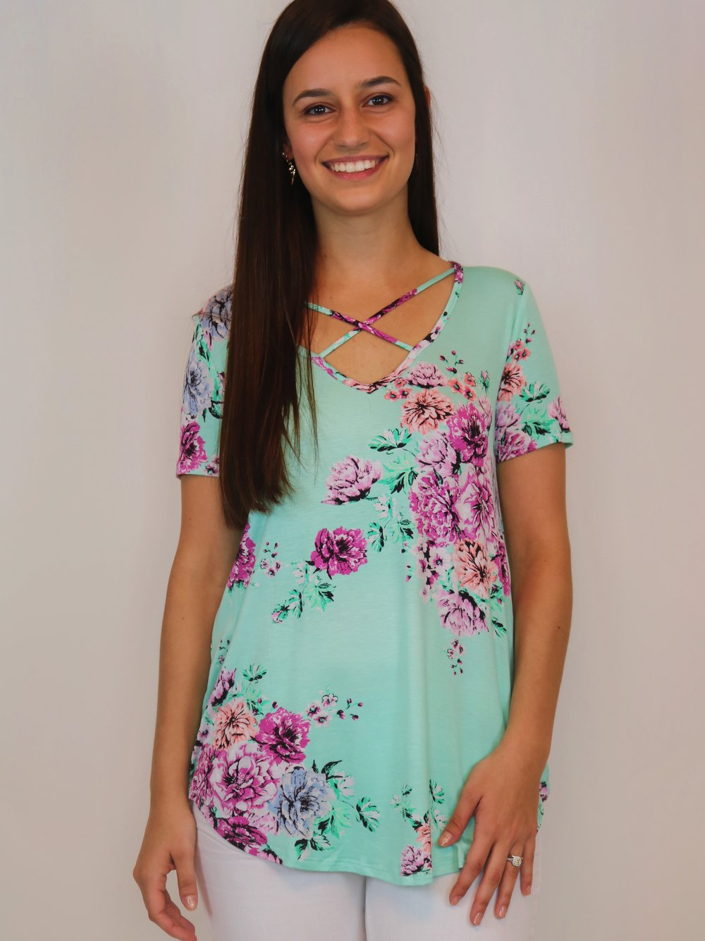 Cool Breeze Mint Floral Top