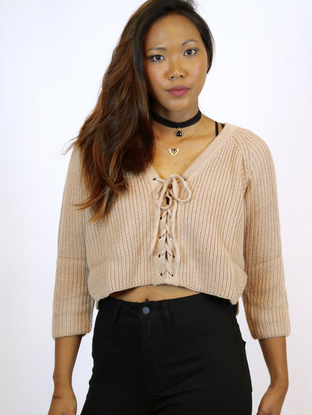 Time Square Taupe Crop Sweater