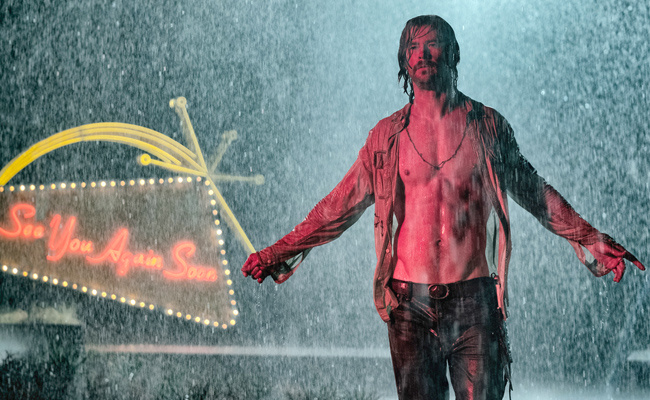 The stormy broodiness of Chris Hemsworth adding to the chaos at the El Royale.