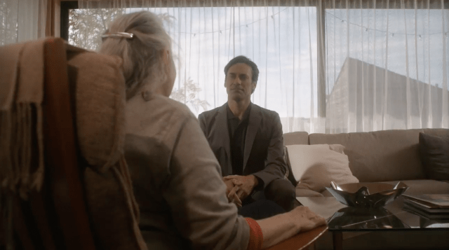 Marjorie (Lois Smith) converses and reflects on her life with her computer generated husband Walter (Jon Hamm) while dementia takes hold.