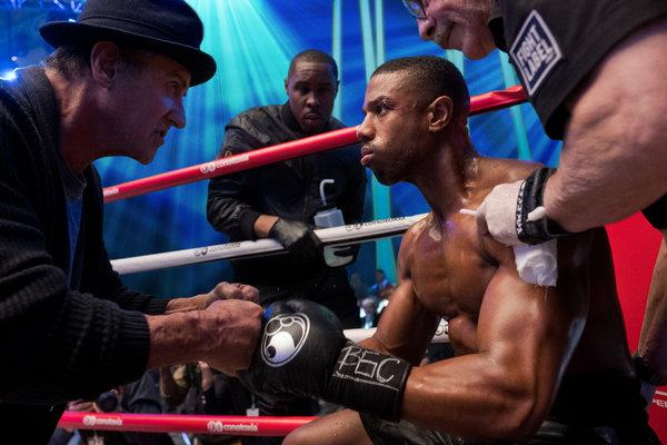 Rocky (Sylvester Stallone) and Adonis (Michael B. Jordan) hang in for one more round.