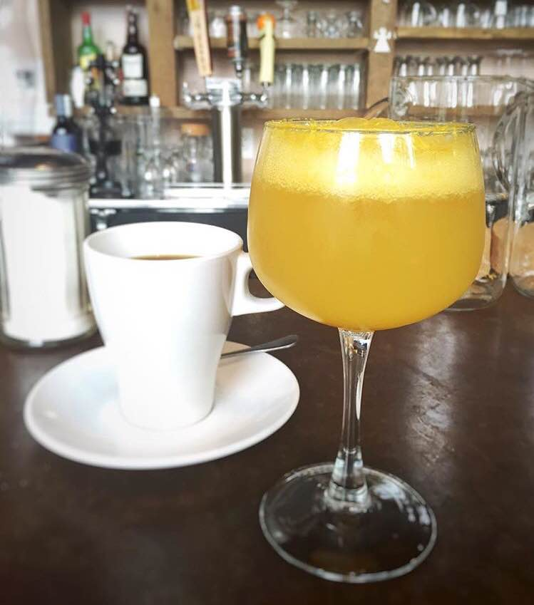 Mimosas with freshly squeezed orange juice