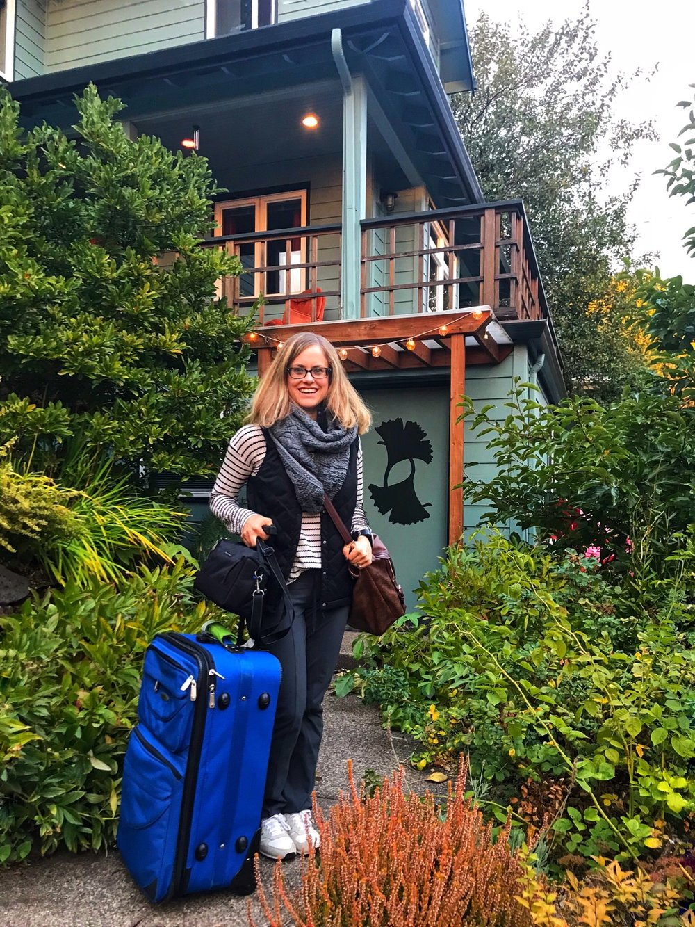 Outside our air bnb in the Mount Tabor neighborhood in Portland. Ready with a half empty suitcase to bring home lots of Oregon goodies.