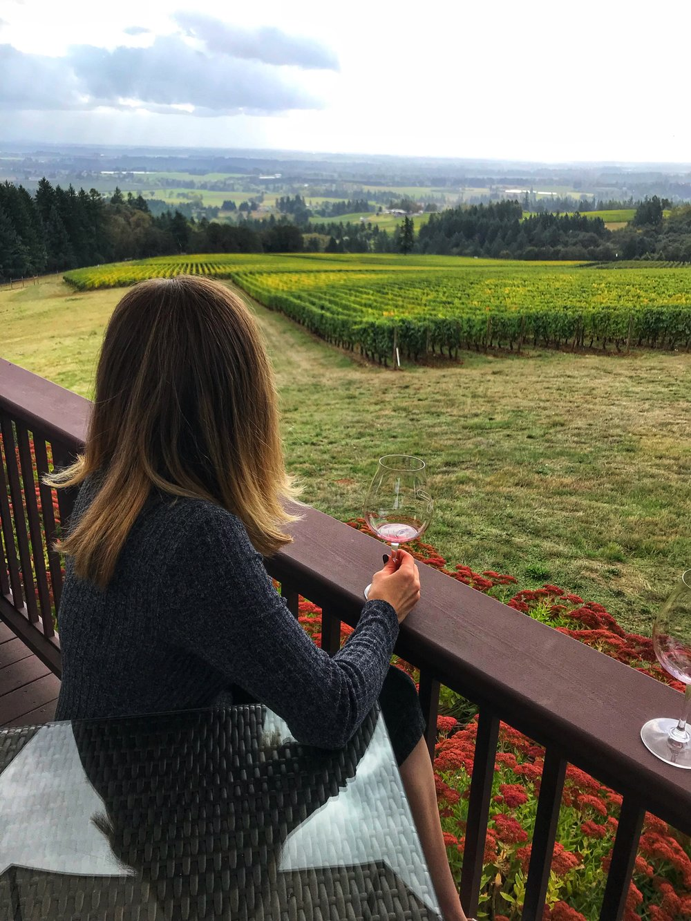 Beautiful view, perfect fall day, and a glass of pinot noir