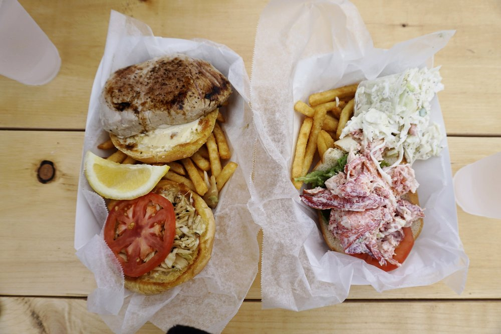 The best tuna and lobster roll of the trip: Sesuit Harbor Cafe