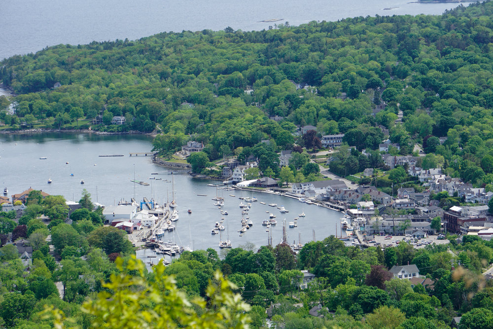 Looking down at Camden, ME from the top of Mount Battie