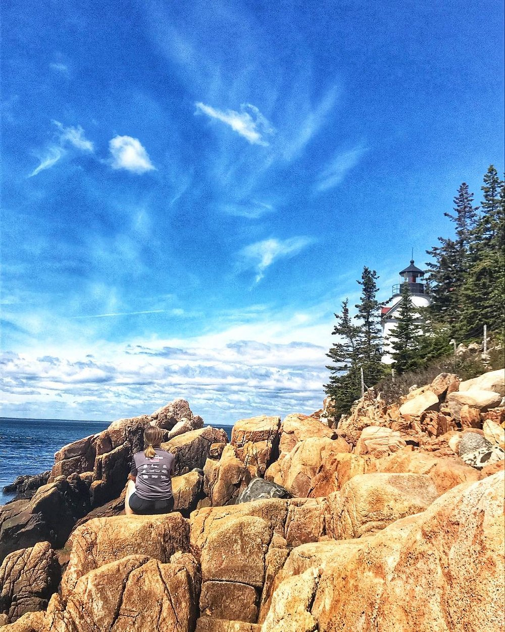 Bass Harbor Lighthouse in the daytime, after a challenging bike ride around that part of the Island