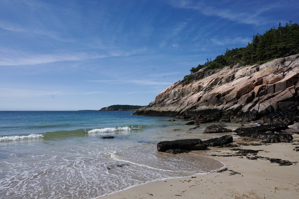 Sand Beach in Acadia National Park. One of the few public beaches. The sand is largely comprised of tiny shell fragments. We star gazed here and at night locals bring their dogs here.