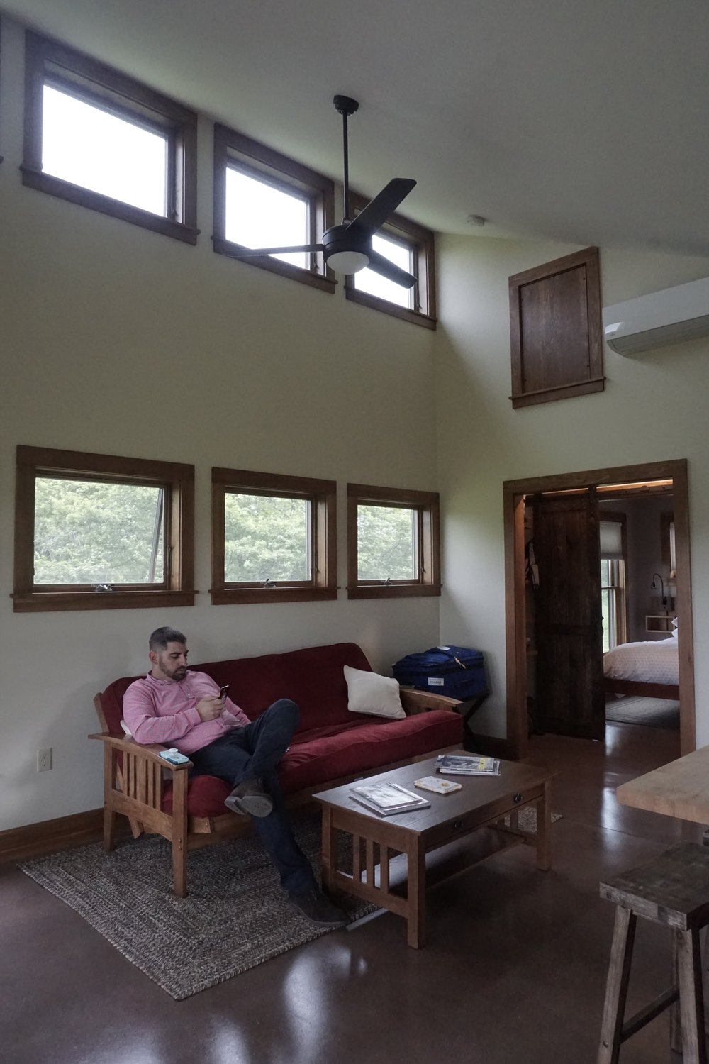 Inside the main living area of the cabin